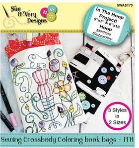 87936: Sue O'Very Designs SWAST79 Sewing Crossbody Coloring Book Bags - ITH
