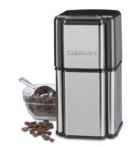 Cuisinart DCG12BC Grind Central Coffee Bean Grinder, Holds 90g 18 Cups, Brushed Stainless, Safety On Off, See Thru Lid, Dishwasher safe bowl & blades
