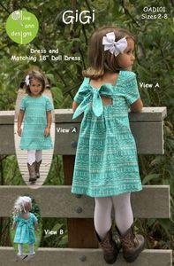 88347: Olive Ann Designs OAD101 GiGi Girl & Doll Dress Sewing Pattern, Sz 2-8