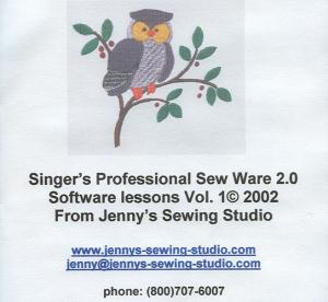 Singer's Professional Sew Ware 2.0 Software Lessons Vol.1 2002 From Jenny's Sewing Studio