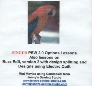 Singer PSW 2.0 Options Lessons Instructional CD for Professional Sew Ware OPTIONS 2.0 only.