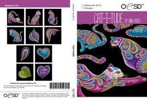 OESD 80172CD, Cat-i-tude Embroidery Designs CD by Ann Lauer