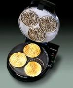 "Chefs Choice 835, Pizzelle Pro Express, Non-stick Baker, 1000 Watts, Non Stick, Ready Light, Bakes 3, of 3"" Pizzelles, Per Minute, Golden to Brown"