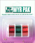 WYR KNITTR wire Holiday Sparkle: 1 spool each: cranberry, forest green, true red