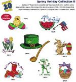 Amazing Designs 1187 Spring Holiday II Embroidery Disk | Includes an Easter Basket filled with colored eggs, Spring tulips, Leprechauns, 4th of July flag and watermelon and other holiday machine embroidery designs.