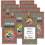Organ, HAx1, same 15X1, and 130R, Standard, Regular Flat Shank, Nickel Plated Needles, for Home Sewing Machines, - Box of 100, in Packs of 10, Choose 1 Size