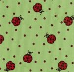 Fabric Finders 15 Yd Bolt 9.34 A Yard  CD5 Ladybugs on Lime Corduroy 100 percent Cotton 60 inch