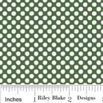 "Riley Blake Designs 15Yd Bolt 7.34 A Yd  C2596 Green Holly Jolly Dots 100% Cotton  45""Fabric"