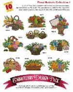 Amazing Designs 2047 Floral Baskets I Embroidery Disk