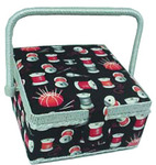Dritz ZC10002-132 Sewing Basket Small Square Red/Black Print, Sewing Basket