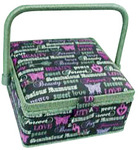 Dritz ZC10002-131 Sewing Basket Small Square Gray Print, Sewing Basket