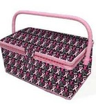 BCA07287 Breast Cancer Awareness Fabric Sewing Basket, Sewing Basket