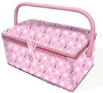 BCA07288 Breast Cancer Awareness Fabric Sewing Basket, Sewing Basket