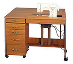 "Fashion, (Roberts), 387e Electric, Quilting, Embroidery, Table, in Maple, or White, with W 47H Drop Leaf 42"" W x 19 3/4"" D"