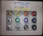 Floriani R60-12A Micro Embroidery Ultra Fine Poly Thread 60wt Top 12x1100Yd Cone Spool Sampler Kit