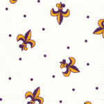 Fabric Finders FF0789/1 Purple Gold Fleur De Lis  & Dots on White Fabric by the yard