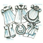 Childrens Corner CC31 Handsewing II Day & Christening Gowns, Diaper Set, Bib, 1 Size Infant
