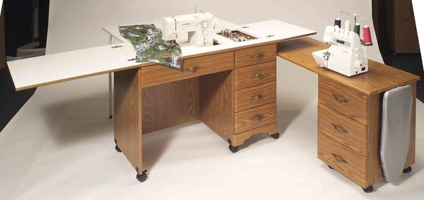 Fashion Cabinets 3400 Large Work Area Sewing Desk Rustic
