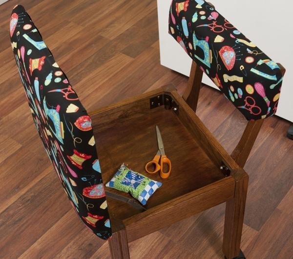 Arrow 7000B Oak Sewing Chair with Riley Blake Fabric on