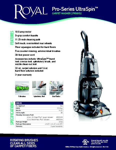 Royal Fr50152 Pro Series Ultraspin Carpet Cleaner Dual