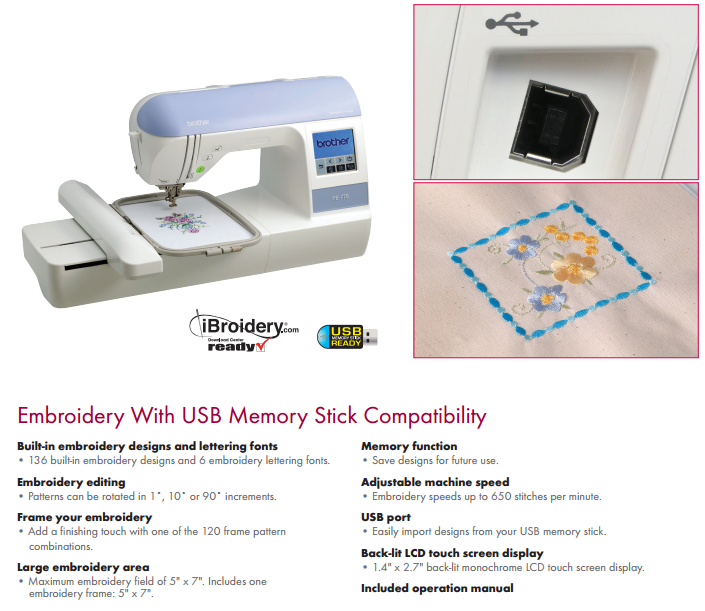 Brother Pe770 Embroidery Machine At