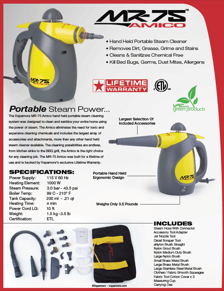the mr75 amico handheld steam cleaner from vapamore efficiency portability power
