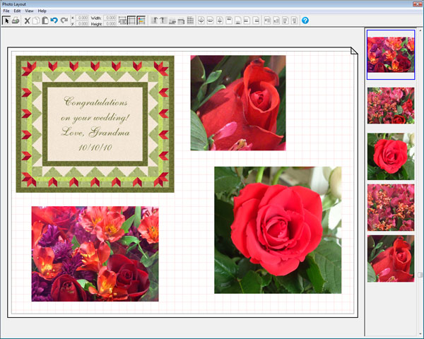 Position and size images in Photo Layout so you don't waste printable fabric.