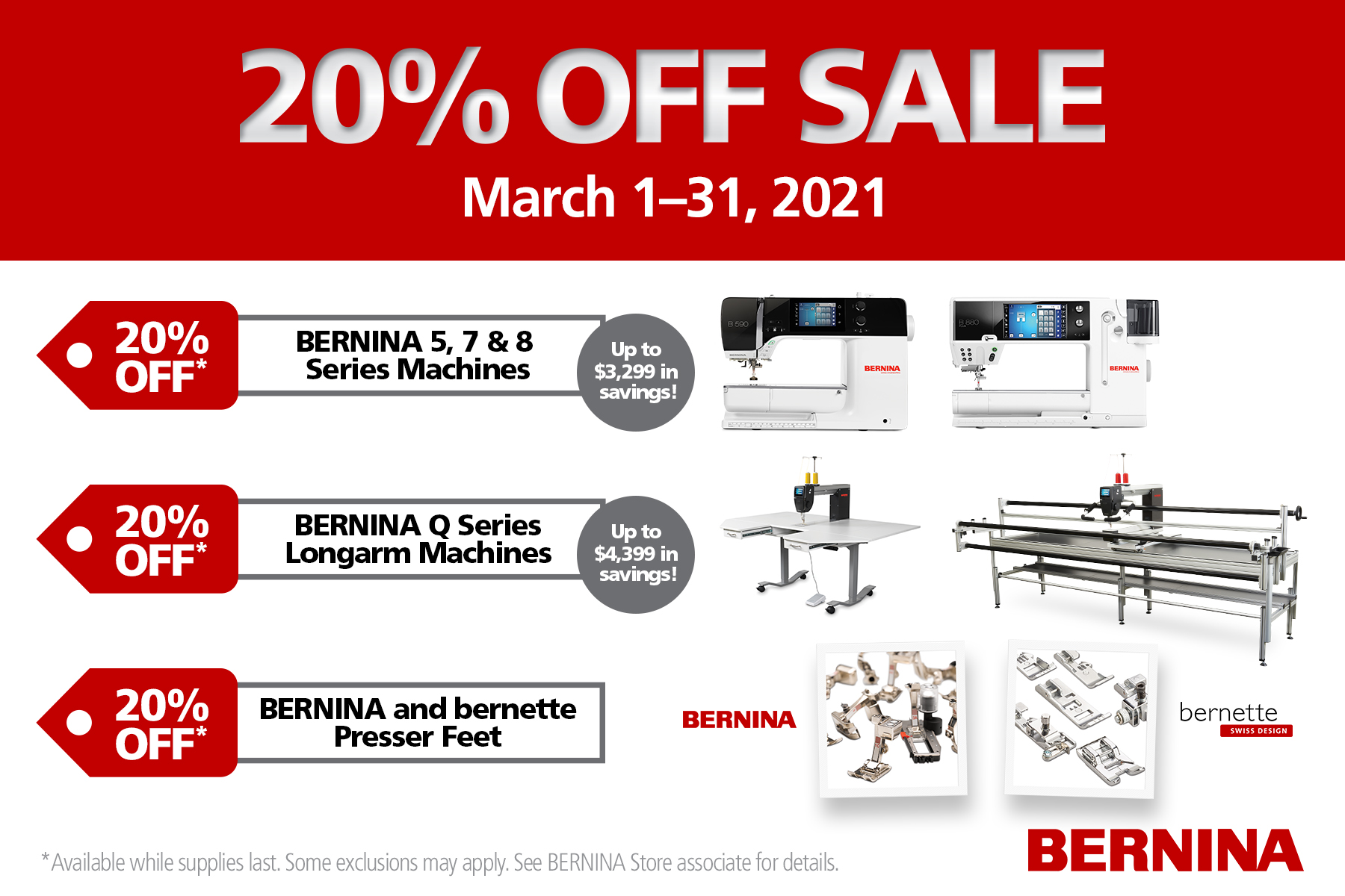 BERNINA March Domestics Promo 2021