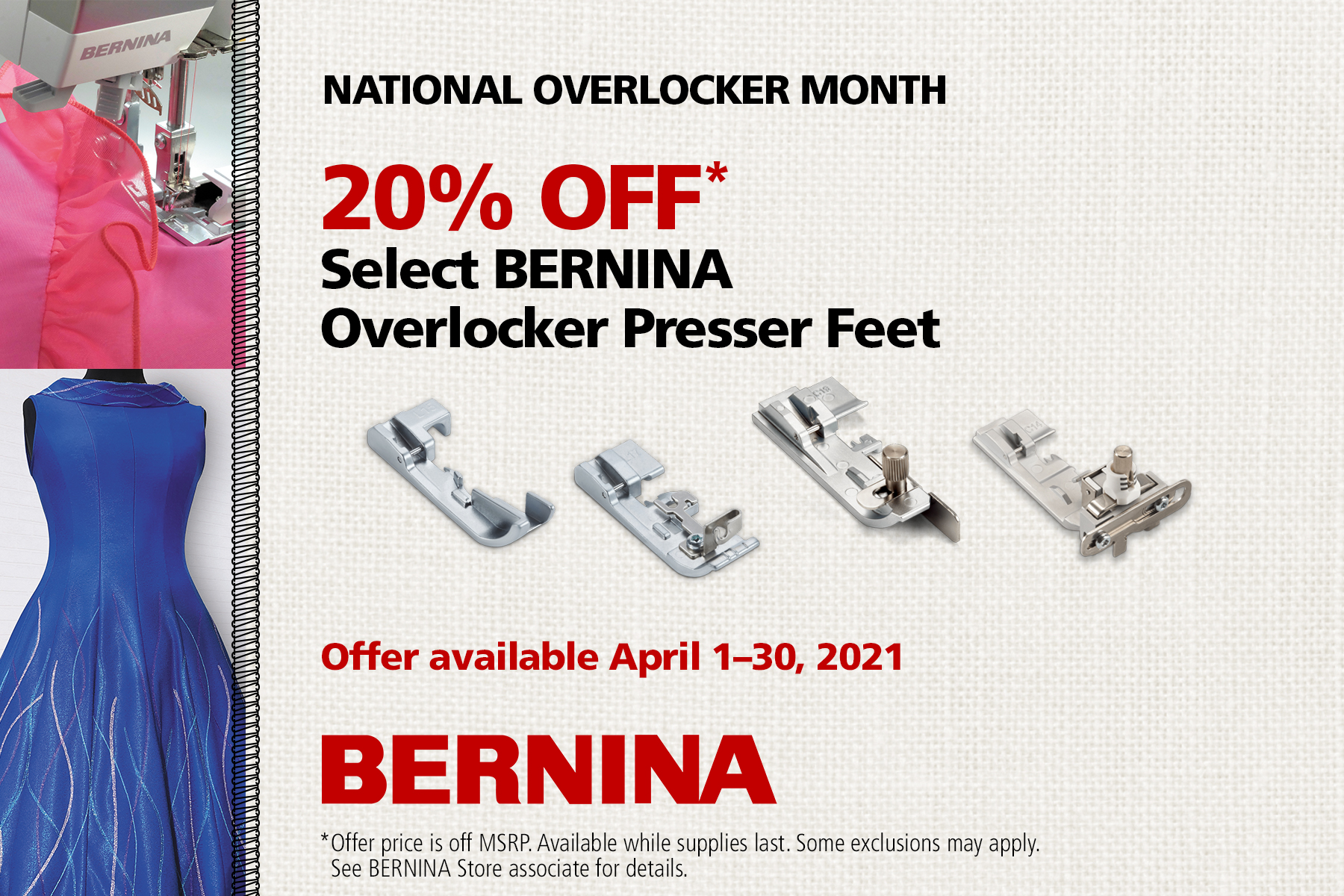 Bernina National Overlocker Month Feet Promotion