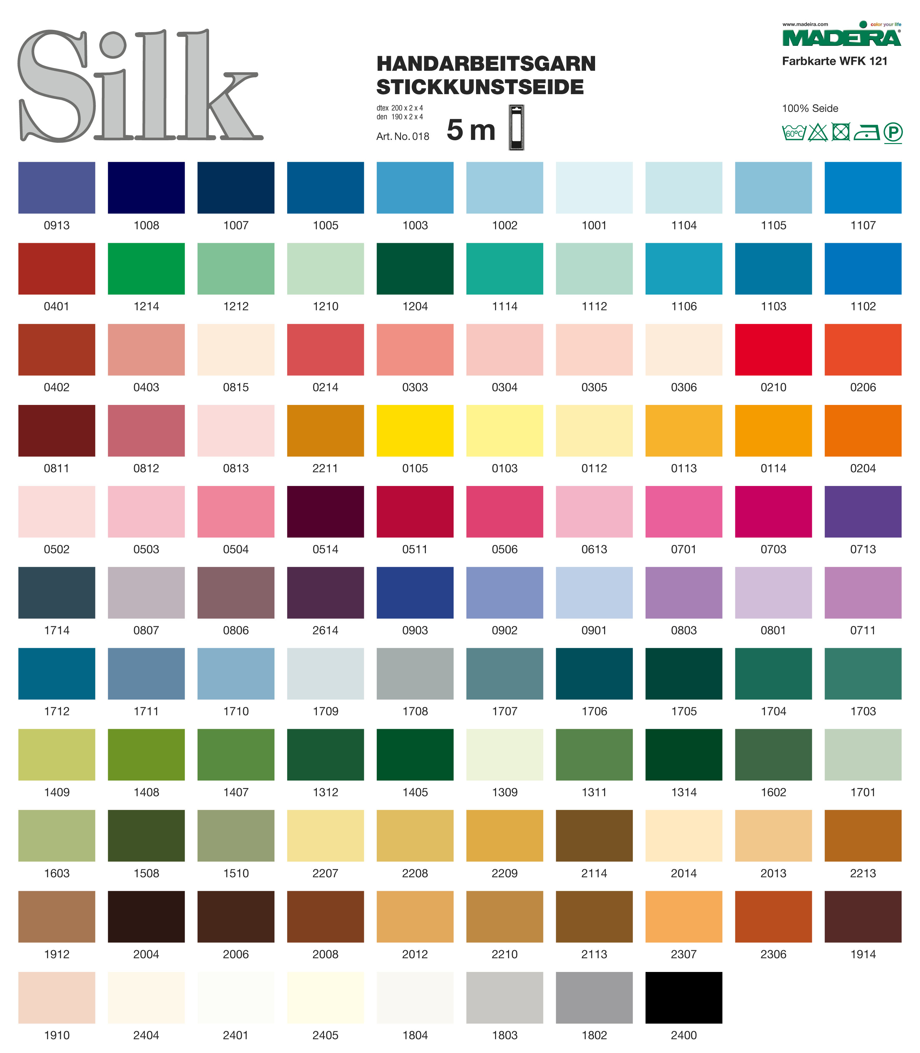 Madeira Silk Floss Color Chart