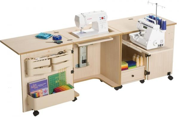 Sylvia 400 Dual Machine Sewing Serger Cabinet W400 X D400 X H40040040 Simple Hideaway Sewing Machine Cabinet