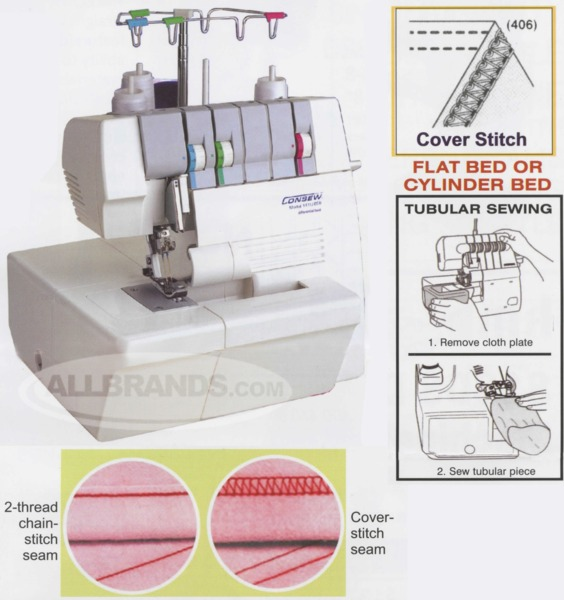 Consew 40TU40 4040Thread 4040Needle 40mm Wide Cover Hem Chain New Auto Tension Sewing Machine