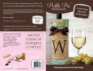 Pickle Pie Designs PPDB03 Monogrammed Cork Wine Bags