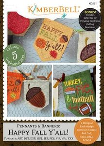 Kimberbell KD561 Pennants and Banners Happy Fall Y'all Embroidery Design CD