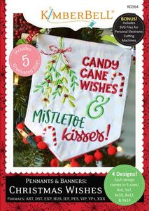 91042: Kimberbell KD564 Pennants Banners Christmas Wishes In Hoop Embroidery Designs CD