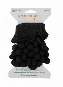 Kimberbell KDKB132 Tassels & Poms Trim: Black
