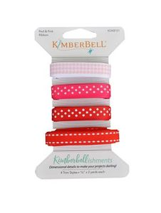 91083: Kimberbell KDKB101 Kimberbellishments Red & Pink Ribbon Set