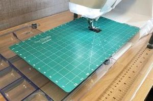 "91642: Sew Steady GRID GLIDER 12x20"" for Extension Tables, Cutout for Feed Dogs"