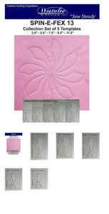 """Sew Steady Westalee Spin-e-fex Template 5pc Set. Includes 3-1/2"""", 5-1/2"""", 7-1/2"""", 9-1/2"""" and 11-1/2"""" sizes for Design #13"""