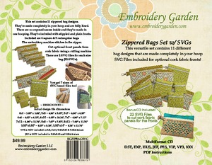 91704: Embroidery Garden EGZIPBAGSVG Zippered Bags with SVG In The Hoop Embroidery Design CD and Instruction