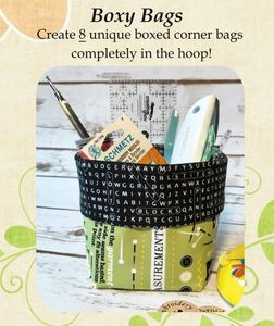 91697: Embroidery Garden Boxy Bags Set In The Hoop Embroidery Design CD and Instruction