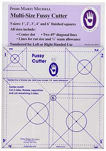 Fussy Cutter Squares MM8297, Quilting Ruler Template, 5 Sizes 1, 2, 3, 4, 5 Inch Blocks