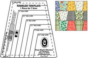 M8204, Multi-Size Tumbler Block Tool Quilting Template, 8 sizes 2in through 5-1/2in in 1/2in increments.