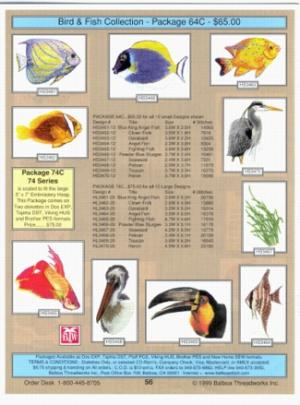Balboa Threadworks 64c Tropical Fish Birds 4x4 Embroidery Disks At
