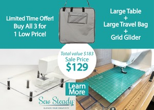 """92631: Sew Steady Table 3 for 1 Large Table 18x24"""", Large Travel Bag & Grid Glider"""