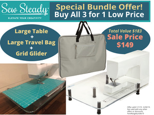"92631: Sew Steady Table 3 for 1 Large Table 18x24"", Large Travel Bag & Grid Glider"