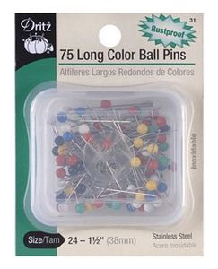 64545: Dritz D31 Long Colored Ball Straight Pins 1-1/2in, 75ct