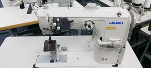 Juki PLC-2760 Double Needle Post-bed Unison-feed Lockstitch Machine with Vertical-axis Large Hook, Assembled Power Stand, Servo Motor, Requires Air