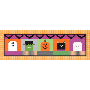 """Riley Blake 2019, Table Runner Kit of the Month Program - Halloween Blockheads - 16"""" x 50"""", fabric for top, binding, and pattern."""