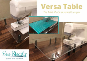 New Sew Steady SST-Versa 2in1 Versa Tables: 16x13.5in Extension Table Extends Base to 16x27in, 8 Legs, Includes Grid Glider for Free Motion Work